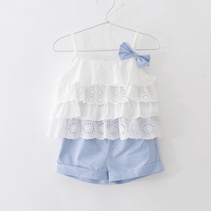 Baby Pretty Ruffled Bowknot Decor Tank Top and Striped Shorts Set for Toddler Girl and Girl