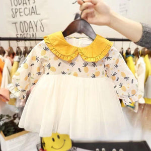 Toddler Girl Long Sleeve Pineapple Print Princess Dress