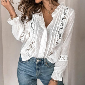 Floral Cotton Hollow Out Lace Blouse Shirts