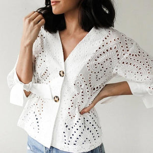 Embroidered Cutout Lantern Sleeve V-neck Blouses