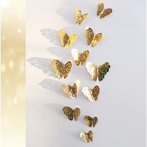 12-piece 3D Hollow out Butterfly Design Wall Sticker-Homeware