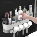 Multifunctional shelf (with toothpaste squeezer)