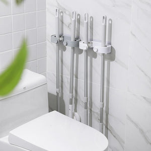 Wall Mount Mop Double Hole Storage Rack-Homeware
