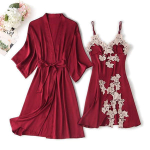 Lace Trim Lady Robe Pajamas Suit