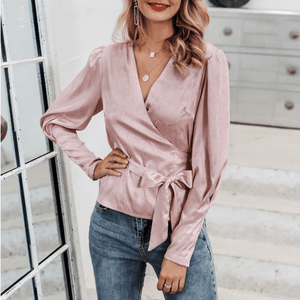 Puff-sleeve V-neck Sweet Bow Tie Blouse Shirt