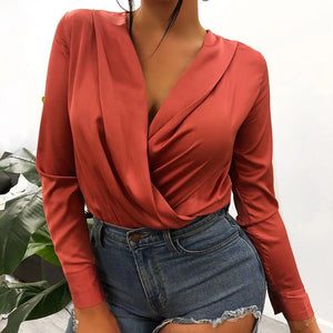 Silk V-neck Bodysuit Blouse