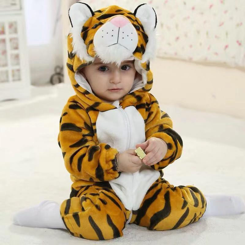 Baby Panda and Tiger Long Sleeve Jumpsuit