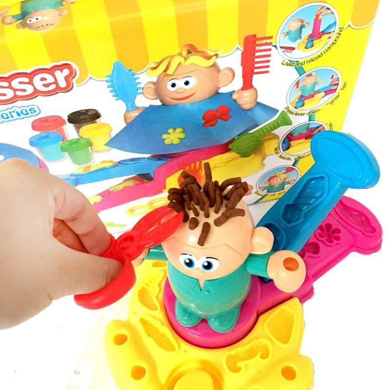 Hairdresser Plasticine Mold 3D Color Mud Barber DIY Plastic and Colored Mud Safe Non-toxic Educational Toy for Children