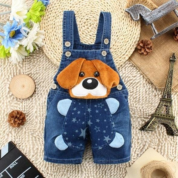 Puppy baby denim overalls