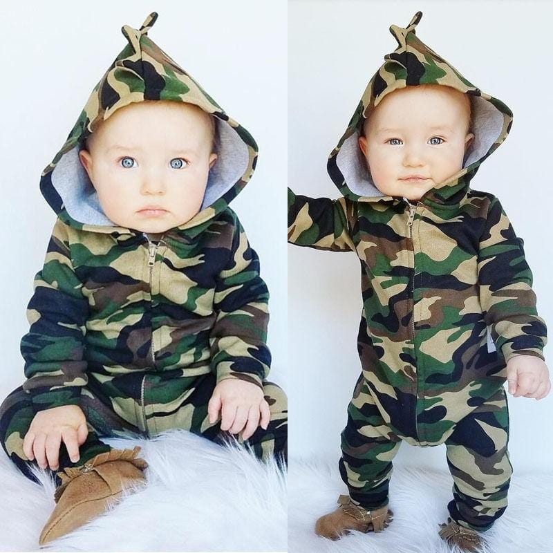 Camouflage baby cotton long sleeve jumpsuit