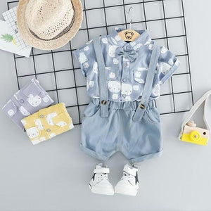 Baby Boys Clothing Sets Toddler Infant Clothes Suits Gentleman Style Shirt Bib Pants Kids Children Casual short Suit