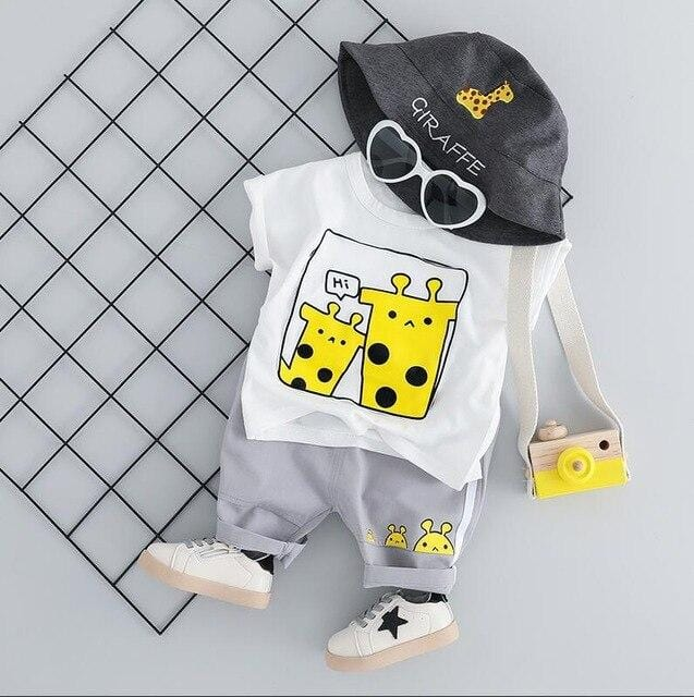 Baby Girls Boys  Clothing Sets Infant Toddler Clothes Suits Giraffe  T Shirt  Shorts Kids Children Clothes Suits
