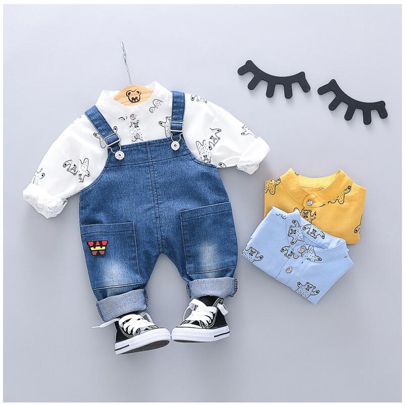 84c1402547dd4 2019 Spring New Baby Boys Clothing Sets Toddler Children Clothes Suits  Cartoon Shirt Bib Pants Kids Infant Costume