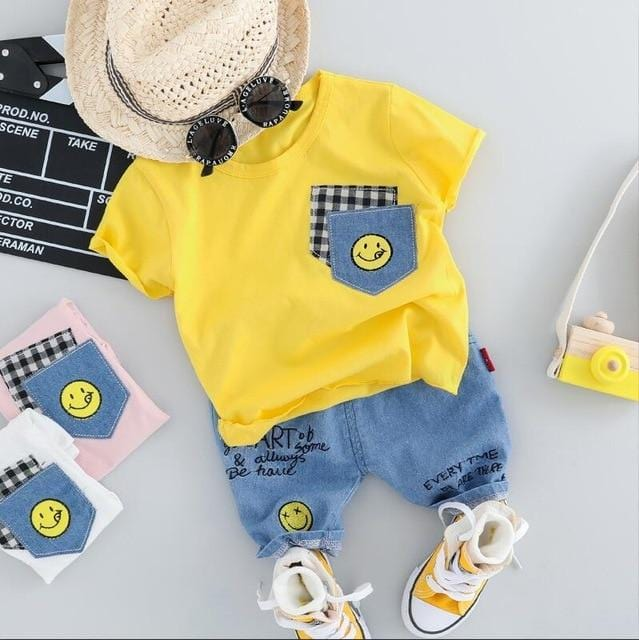 Baby Boy Girls  Clothing Sets Infant Toddler Clothes Suits Smiley Face T Shirt Shorts Kids  Children  Clothes Suits