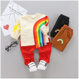 ZWXLHH Hot Sell  Baby Girls Clothes Sets Infant Toddler Cotton Suits Rainbow T Shirt+Jeans Children Kids Casual Suits