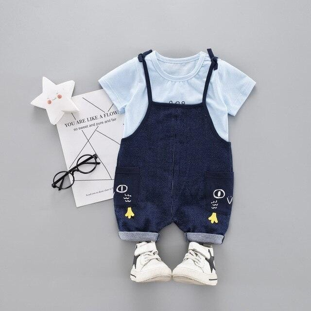 Baby Boy / Girl Short Sleeve Cotton Top Jeans Two Piece Set