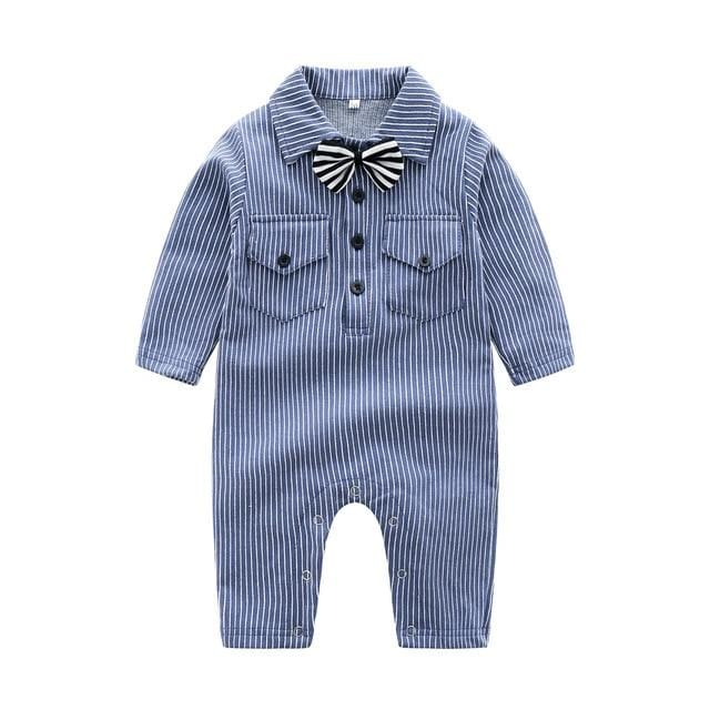 Super Cool Tie Stripe Baby Romper Fashion Long Sleeve Handsome Boys One-Pieces Turn Down Collar Ropa Bebe Toddler Baby Jumpsuit