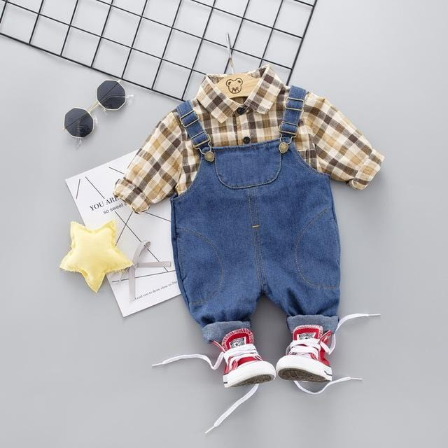 Toddler Infant Clothing Sets Baby Boys Clothes Suits Grid Shirt Jeans Casual Kid Children Costume