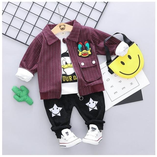 Baby Boys Clothing Sets Toddler Infant Clothes Suits Striped Coat T Shirt Pants Children Kids Cartoon Suit