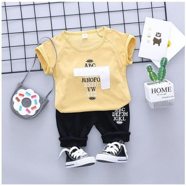 Baby Boys Clothing Sets Kids Children Clothes Suits  Letter T Shirt  Shorts Infant Toddler Casual Suit