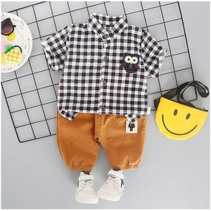 Baby Clothing Sets Toddler Infant Clothes Suits Plaid  Owl T Shirt Shorts Kids Children Casual Suit