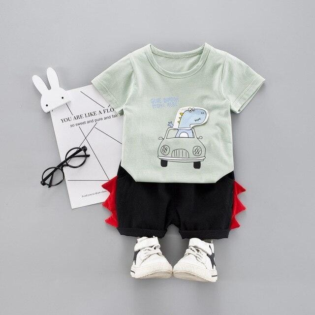 Baby Boys Clothing Sets Infant Toddler Clothes Suits dinosaur Car T Shirt  Shorts Kids Children Casual Suit