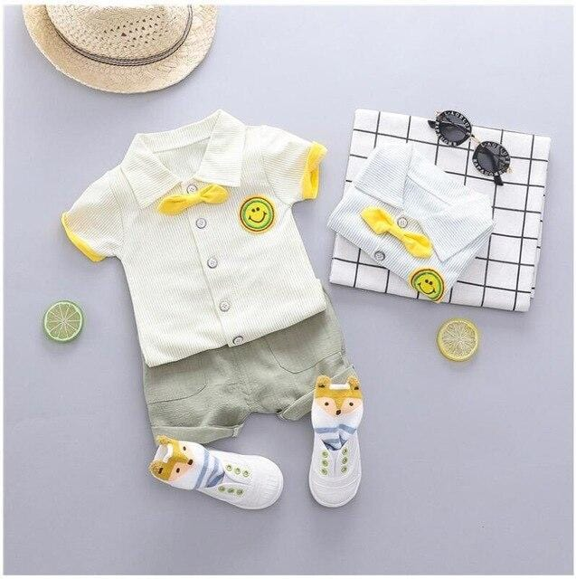 Baby Boys  Clothing Sets Infant Toddler Clothes Suits Striped Lapel  T Shirt  Shorts Kids Children Casual Suit