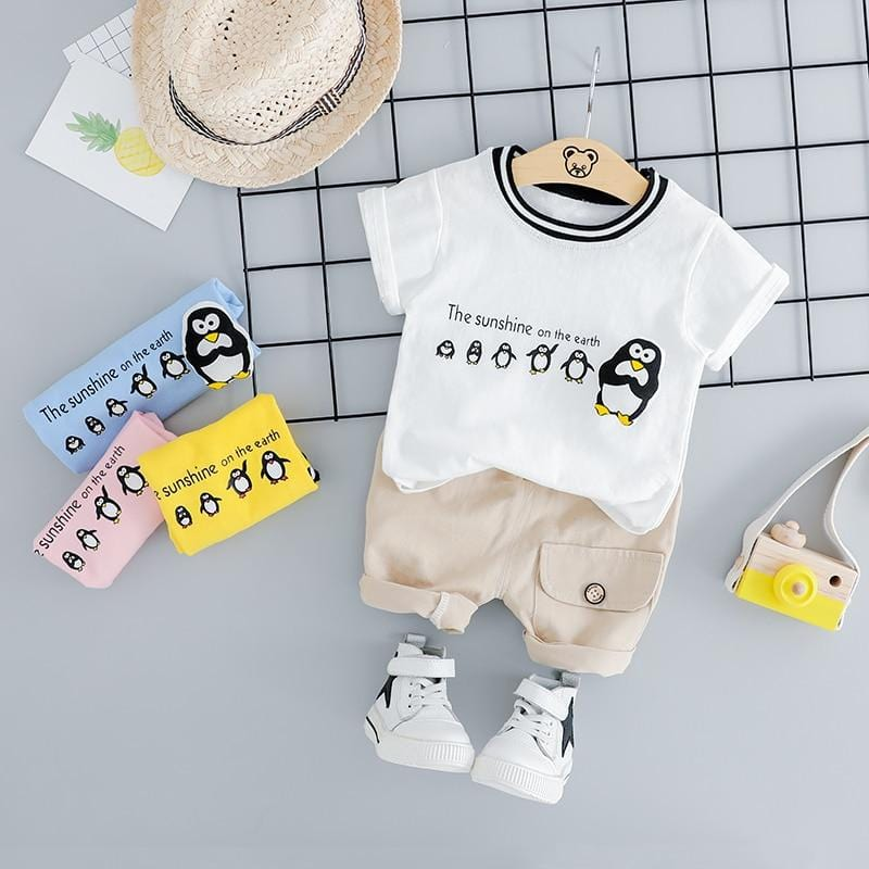 Baby Boys Short Clothing Sets Infant Toddler Clothes Suits  Casual Penguin T Shirt Shorts Kids Children Casual Suit