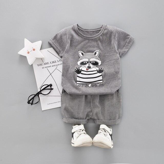 Infant Toddler Clothes Suits Baby Boys Clothing SetsCartoon T Shirt  Shorts Kids Children Casual Suit