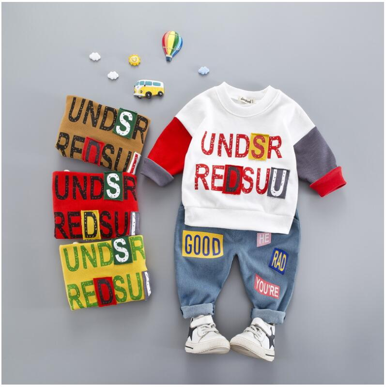 New Autumn Fashion Childrens Baby Boys  Clothes Suit Newborn Cotton  Jacket+Jeans Pants 2pcs Sets Baby Clothes