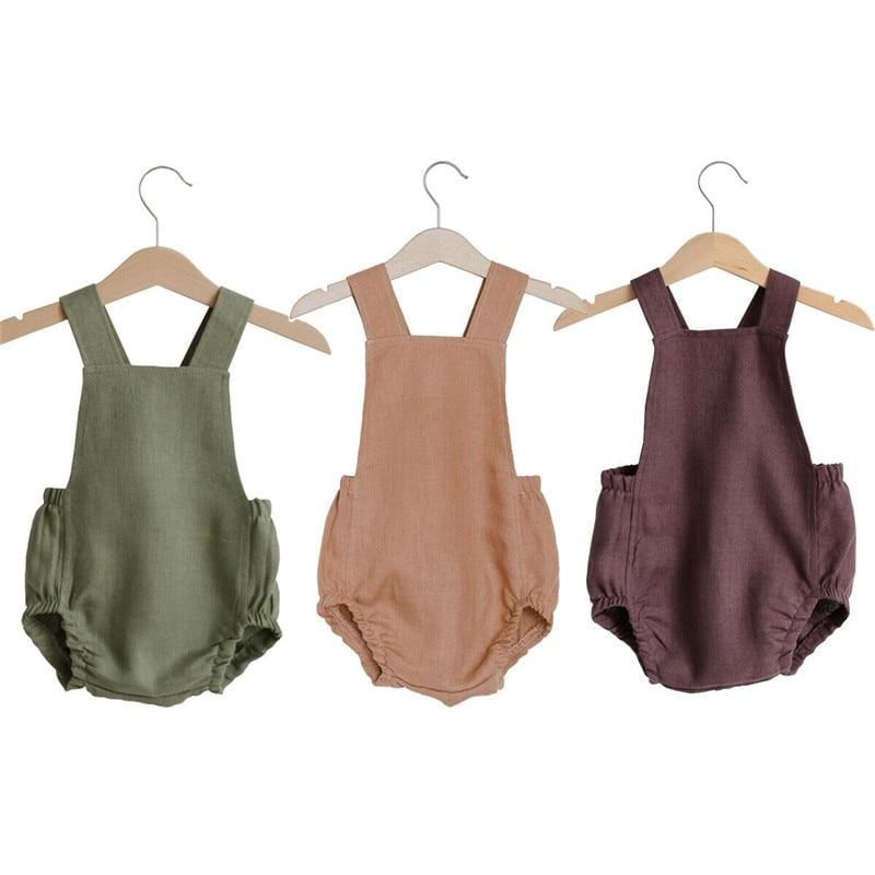 Summer Newborn Baby Boy Girls Clothes Sleeveless Solid Color Cotton Bodysuit Jumpsuit Clothes Outfits Sunsuit