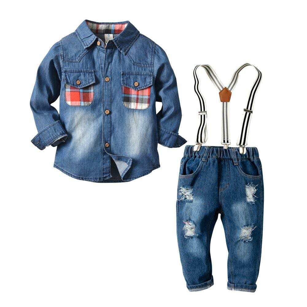 Dropship Toddler Boys Children Infant Baby Turn Down Collar Shirt Jean2pc Suit Long Sleeve little Gentleman Wedding Clothing Set