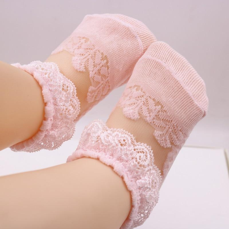 1 Pair Summer Newborn Baby Girls Lace Ultra-Thin Mesh Crystal Socks Short Socks Solid Color Kids Princess Socks for 3-24months
