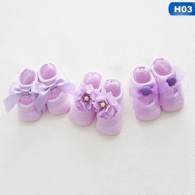 1 Pairs Cotton Baby Girls Socks Newborn Sock Infant Anti Slip Sweet Lace Flower Bow Socks Party Birthday Sock For 1-3 Years
