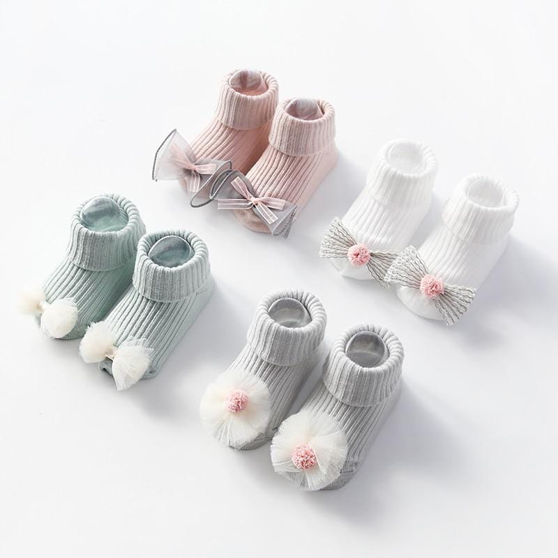 Infant Baby Cotton Socks Toddler Anti-slip Sock With Lovely 3D Flower Bowknot For Baby Girls Floor Socks Newborns 0-18Months