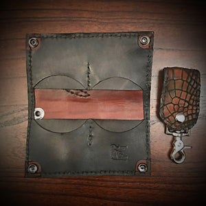 Long wallet - American Alligator Leather Brown, Black Interior, Black Stitching