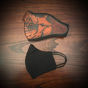 Leather Face Mask with Custom Art, Regular Face Mask Included
