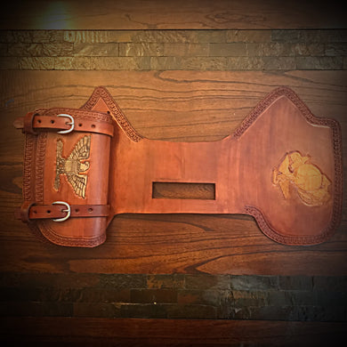 Heat Shield with Pouch for Indian Cruisers, Baggers & Touring Bikes - Tan, Custom Art