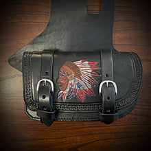 Load image into Gallery viewer, Heat Shield with Pouch for Indian Cruisers, Baggers & Touring Bikes - Black, Custom Art