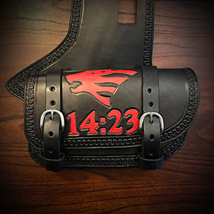 Heat Shield with 2 Pouches for Indian Cruisers, Baggers, & Touring Bikes - Custom Art, Black