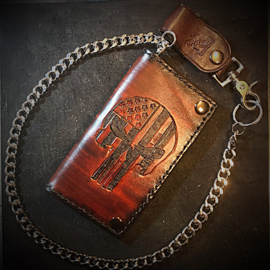 Long wallet - Flag Skull, Brown