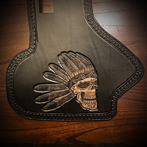 Heat Shield, Flying Indian Skull, Black - Fits Indian Cruiser, Baggers & Touring Bikes