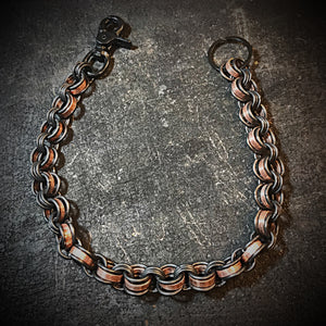 Chainmail Chain - Penny Dreadful, Black steel rings, copper American pennies.