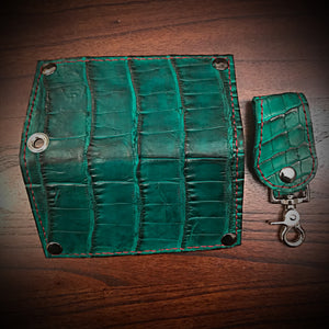 Long wallet - American Alligator Leather, Green, Red & Green Interior, Red Stitching