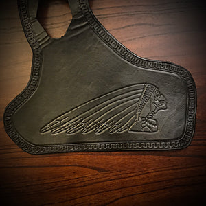 Heat Shield for Indian Scout Motorcycle with Pouch - War Bonnet Skull, Black
