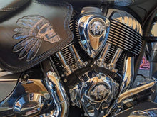 Load image into Gallery viewer, Heat Shield - Flying Native Skull, Black, With Pouch, Fits Indian Cruisers, baggers & Touring Bikes.