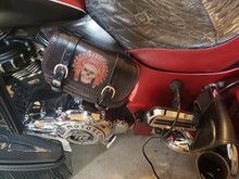 Load image into Gallery viewer, Heat Shield with 2 Pouches for Indian Cruisers, Baggers, & Touring Bikes - Custom Art, Black