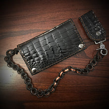 Load image into Gallery viewer, Long wallet - Gloss American Alligator Leather, Black, Brown Interior, Brown Stitching
