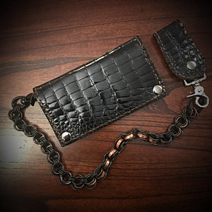 Long wallet - Gloss American Alligator Leather, Black, Brown Interior, Brown Stitching