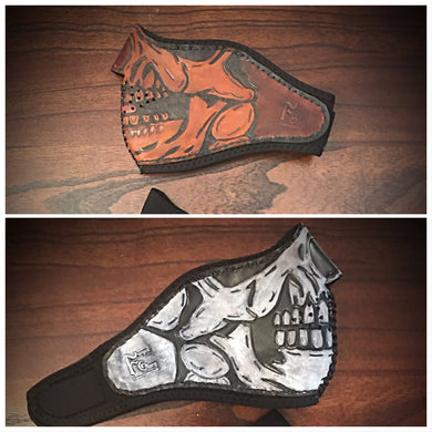 Leather Face Mask with Skull Art, Regular Face Mask Included
